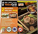 Yeba Grill Pak - Set of 2 Reusable Grilling Mesh Bags - Non Stick Dishwasher Safe - Easy to Clean - Safe to use on Electric, Gas & Charcoal Grill