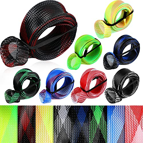 8 Pieces Fishing Rod Covers 68 Inch Fishing Rod Sleeve Sock with Lanyard Fishing Pole Glove Braided Mesh Rod Protector Fishing Accessories for Casting Sea Fishing Rod