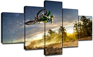 Dirt Bike Pictures on Canvas Wall Art Cool Paintings for Wall 5 Panel Canvas Poster Motocross Dining Room Artwork Framed Wall Decor for Living Room Ready to Hang(60''Wx32''H)