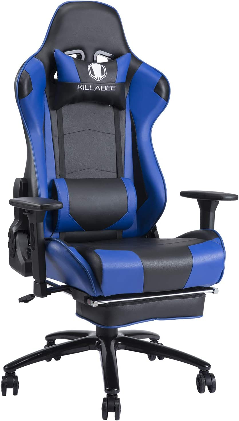 Massage Gaming Chair with Footrest Ergonomic Boston Mall Reclinin Blue Special Campaign Floor