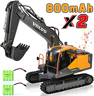 DOUBLE E Volvo RC Excavator Construction Truck 17 Channel 1/16 Scale RC Truck Digger with 2 Batteries Remote Control Excavator 2.4Ghz Tractor Vehicle Toy with Light and Sound for Kids
