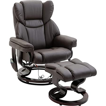 Best Choice Products Faux Leather Electric Massage Recliner Chair For Living Room Bedroom Office Comfort W Stool Footrest Ottoman Remote Control 5 Heat Massage Modes Side Pockets Brown Home