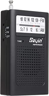 Goofly Mini AM FM Radio 2 Band Radio Receiver Portable Pocket Transistor Radio Built-in Speaker w/Headphone Jack Telescopi...