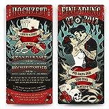 Einladungskarten Hochzeit (30 Stück) - Rockabilly - Hochzeitskarten Einladung Vintage Retro Rock