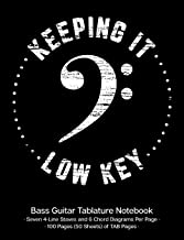 Keeping It Low Key Bass Guitar Tablature Manuscript Notebook: Bass Guitar TAB Paper Notebook; White Bass Clef Cover Design with Distressed Look