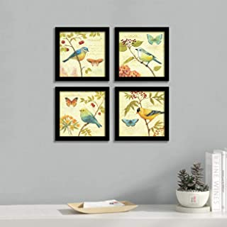 Jardin Bird Framed Painting/Posters for Room Decoration, Set of 4 Black Frame Art Prints/Posters for Living Room by Painti...