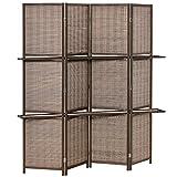 HOMCOM Biombo de 4 Piezas de Bambú Separador de Ambientes Plegable con 2 Estantes Extraíbles Divisor de Habitaciones Dormitorio 180x180 cm Marrón