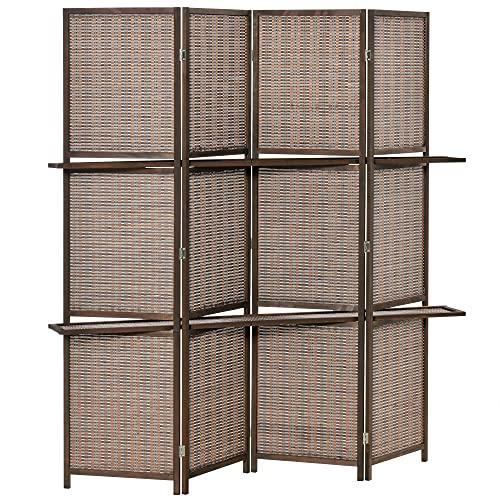 HOMCOM Biombo de 4 Piezas de Bambú Separador de Ambientes Plegable con 2 Estantes Extraíbles Divisor de Habitaciones...