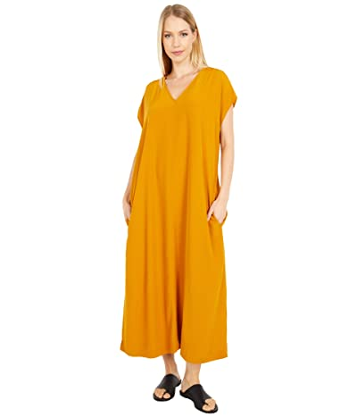 Eileen Fisher V-Neck Full-Length Dress (Goldenrod) Women