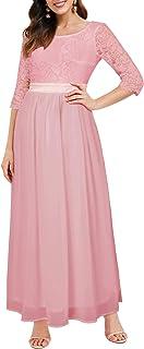 Auxo Damen Maxi Kleider Lang Abendkleid Festlich Cocktail Herbstkleider Elegant Brautkleider