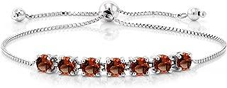 Sterling Silver Natural Red Garnet Adjustable Bracelet 2.80 cttw Round Cut Gemstone Birthstone