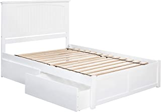 Atlantic Furniture Nantucket Platform Bed with 2 Urban Bed Drawers, Queen, White