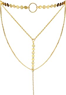 Stylish Layered Sequins Choker Necklace with Thin Long Chain Pendant for Women Lady Girl