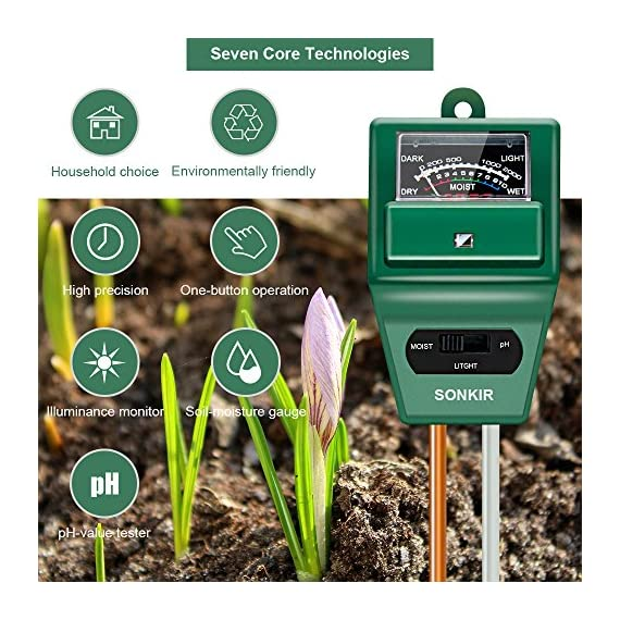 Sonkir Soil pH Meter, MS02 3-in-1 Soil Moisture/Light/pH Tester Gardening Tool Kits for Plant Care, Great for Garden… 7 Kindly NOTE: This soil tester can not be applied to test pH value of any other liquid. If the soil is too dry the indicator will not move, and water it before testing. 3-IN-1 FUNCTION: Test soil moisture, pH value and sunlight level of plant with our soil meter, helps you specialize in grasping when you need to water your plant. ACCURATE & RELIABLE: Double-needle Detection Technology strongly enhances the speed and accuracy of detecting and analyzing soil moisture and pH acidity.