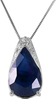 Galaxy Gold 14k Solid White Gold Necklace with 4.65 Carat Natural Sapphire Pendant