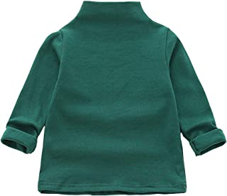 MODNTOGA Kids Baby Girls Basic Solid Color Turtleneck T-Shirt Tops Long Sleeve Clothes