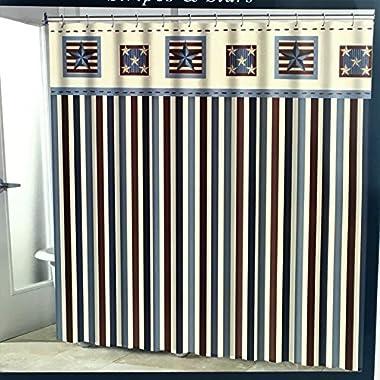 Avanti Linens Patriotic Americana Stripes and Stars Primitive Fabric Shower Curtain – 72 x 72