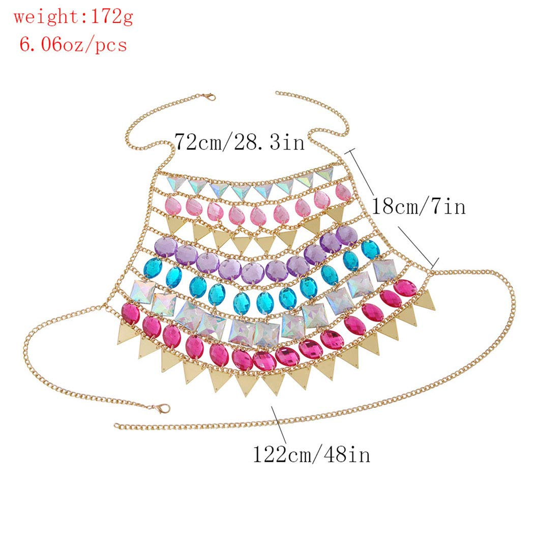 Relbcy Boho Rhinetone Body Chain Colorful Sequins Beach Chest Chains Nightclub Harness Chain Body Jewelry Accessories for Women and Girls