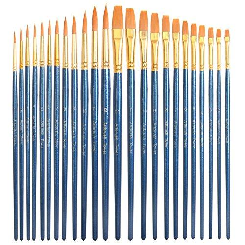 24 Piece Acrylic Paint Brushes Set - Best Acrylic Brush Pen Bulk, Round and Flat, Basic Paint Brush Kit for Classroom, Kids, Artist, Body, Acrylic, Watercolor Painting
