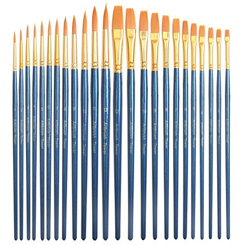 24 Piece Acrylic Paint Brushes Set - Best Acrylic Brush Pen Bulk,...