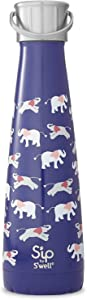 S'well Stainless Steel Water Bottle - 15 Fl Oz - Elephant Love - Double-Layered Vacuum-Insulated Containers Keeps Drinks Cold for 24 Hours and Hot for 10 - BPA-Free Travel Water Bottle