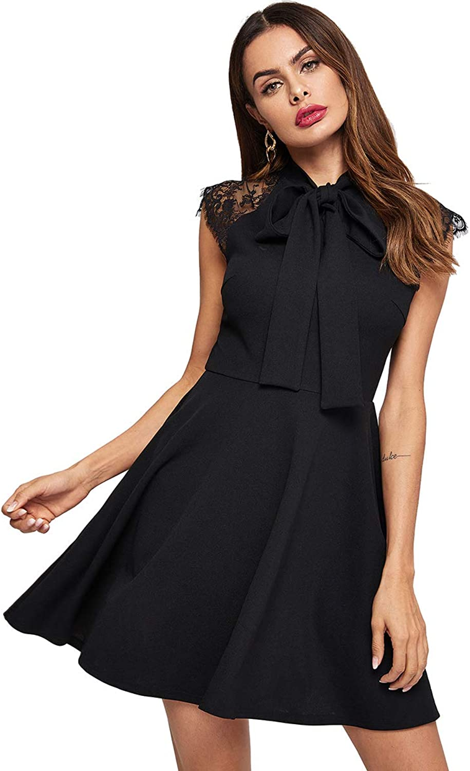 Romwe Women's Vintage Lace Cap Sleeve Bow Tie A Line Flare Swing Cocktail Party Dress