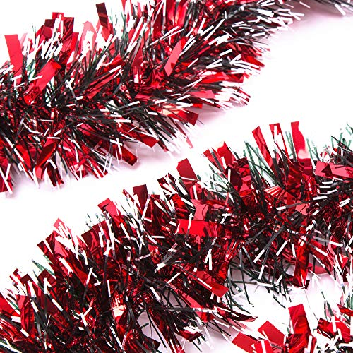 iPEGTOP 3Pcs x 6.6ft Christmas Tinsel Garland, Classic Thick Shiny Sparkly Christmas Tree Ornaments Party Ceiling Hanging Decorations, 3.5 inch Wide Ink White Filaments - Red