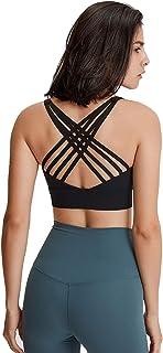 Women Sports Yoga Bras, Shockproof Comfort Workout Yoga Bra for Running,Black,12