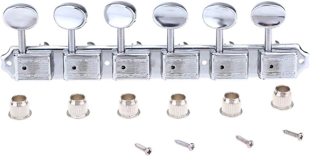 Wilkinson Deluxe Vintage 6-on-a-strip en Línea Split Shaft Clavijas de Afinación Clavijeros de Repuesto para Squier Classic Vibe Fender Strat/Tele Style, Cromo