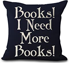 Book Lover Reading Book Club Books I Need More Books Black Background Cotton Linen Decorative Throw Pillow Case Cushion Cover Square 18 X18