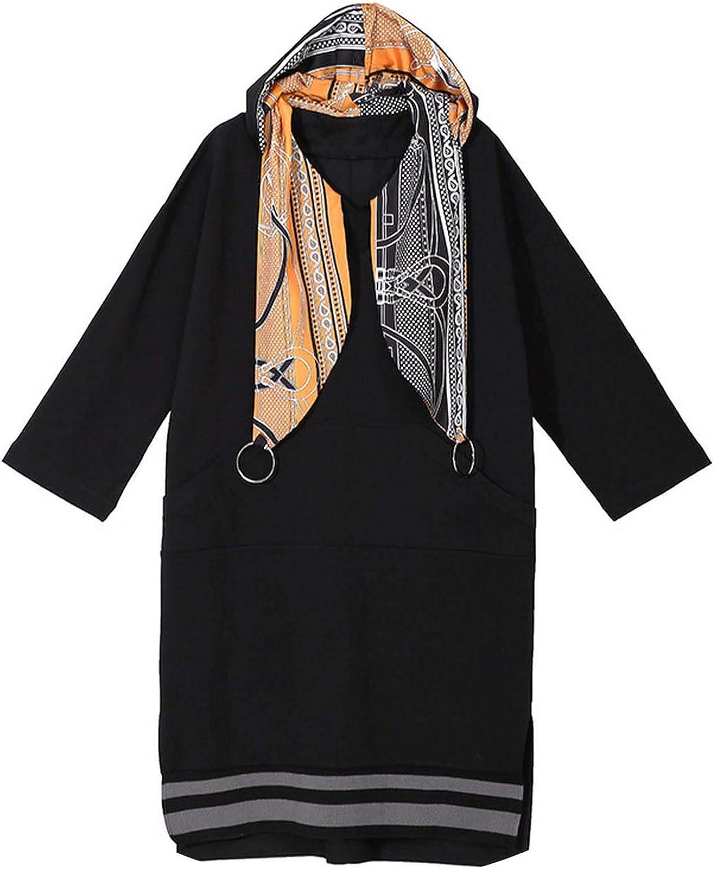 Hooded Dress Split Dress Long Sleeve Patchwork Loose Waist Dress