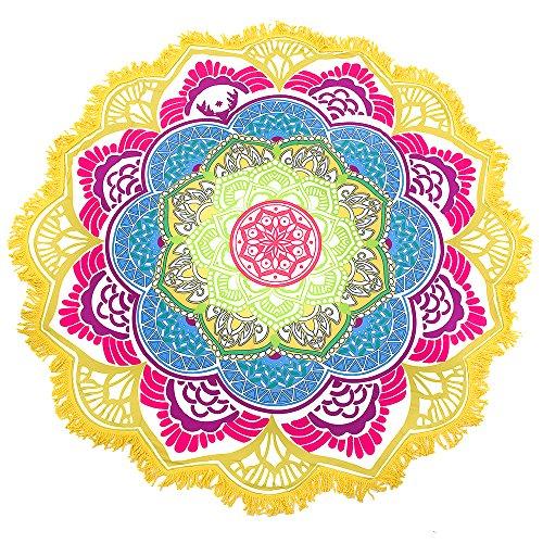 Chic Vibe Riesen Auswahl - Sarong Pareo Wickelrock Rund Strandtuch im Mandala Design Handtuch Strandlaken Roundie Duschtuch Badetuch (Modell Q)