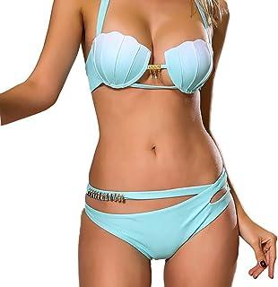 SIYIHENGJUN Women Push Up Padded Bra Shell Printed Bikini Set Swimsuit Swimwear Bathing Bikini Set