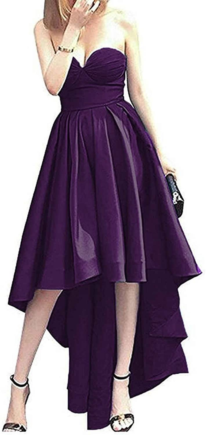 JQLD Womens Hi Lo Prom Dress Satin Pleated Sweetheart Evening Homecoming Gowns