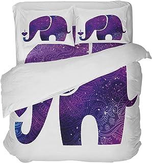 LnimioAOX Juego de Funda nórdica de 3 Piezas con Silueta de Elefante Africano con 2 Fundas de Almohada Decorativas, Colcha, patrón étnico Bohemio púrpura
