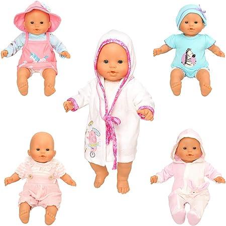 Miunana 5X Vestidos Verano Casual Ropas para 14- 18 Pulgadas Muñeca bebé 36 cm Doll 18 Pulgadas American Girl Doll