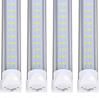 12Pack-LED Tube Light, 120W 8ft LED Shop Light Fixture ,Flat 3 Rows Integrated Bulb Lamp, Works without T8 Ballast, Plug and Play,for Warehouse Supermarket Workshop ,Cold white 6000-6500K Clear Cover