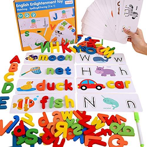 Juegos de ortografía Juguetes educativos Regalos para niños de 3 a 8 años Juguetes para niños Bloques de letras de madera Niños de 3 a 8 años Regalos de cumpleaños, Cognición animal Juguete educativo