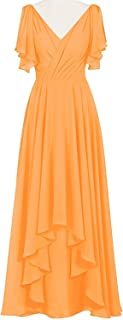 CladiyaDress Women V Neck Chiffon Hi-Lo Length Bridesmaid Dresses Cocktail Gowns D088LF