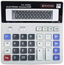 $25 » 12 Digit Electronic Desktop Calculator, Keyboard Keys Large Display, Solar Battery Dual Power Basic Office Calculator(2 Pa...