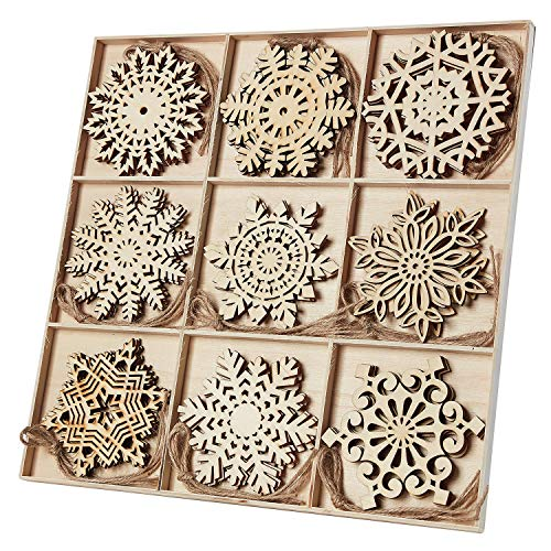 N&T NIETING 27pcs Wooden Snowflakes Shaped Embellishments Hanging Ornaments for Christmas Decoration