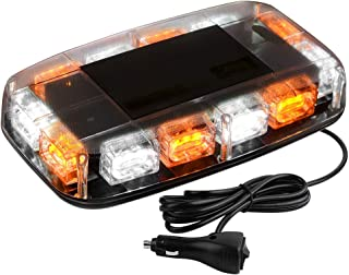 YITAMOTOR Upgrade Amber White Strobe Lights - High Intensity Law Enforcement Emergency Hazard Warning LED Mini Bar Strobe Light with Magnetic Base for 12V-24V Snow Plow, Trucks, Construction Vehicles
