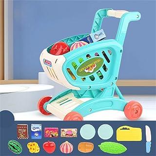 子供のショッピングカートシミュレーションスーパーマーケット赤ちゃんプレイ家の少年少女の果物や野菜のカットとカットのセットトロリーおもちゃ,ブルー