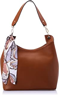 Club Aldo Faux Leather Patterned Scarf Hobo Bag for Women - Tan