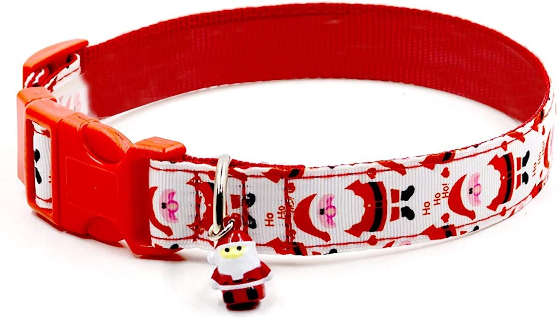 ROZKITCH Christmas Dog Collar, Natale regolabile Santa Claus Theme Dog Collars con Bell Cute Adorabile Collar per Cats Small Medium and Large Dogs
