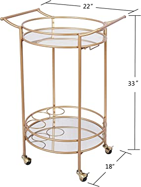 Round Gold Rolling Bar Cart with 2 Mirror Shelves,, Goblet Rack and Lockable Casters, Suitable for Home Kitchen, Club, Living