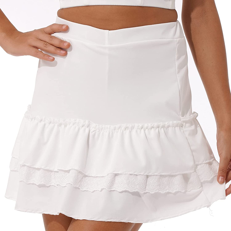 MSemis Women Girls Pleated Mini Skirts A-line Lace-Up High Waist Short Skirts Y2k Harajuku Goth Skirt