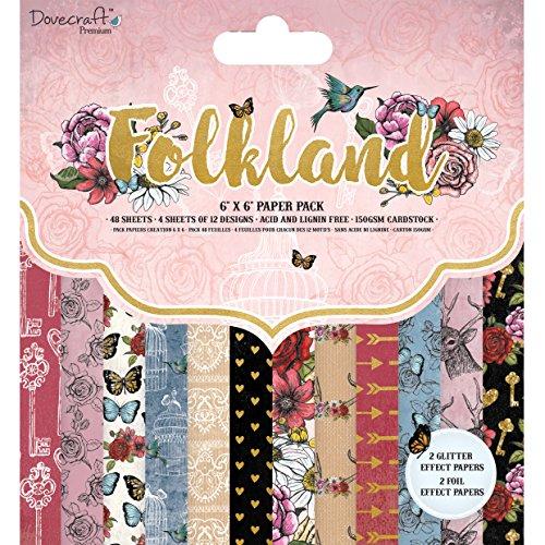 Dovecraft Premium Folkland 6x 6FSC Paper Pad, multicolore, taglia unica