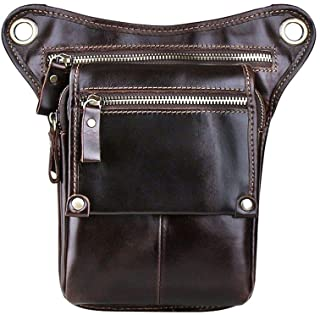 Genda 2Archer Men's Leather Fanny Pack Waist Hip Purse Tactical Belt Bag 9.3 (H) x 2.0 (W) x 5.9 (L) inch Dark Brown