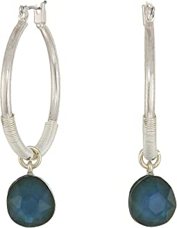 Stone Drop Hoop Earrings